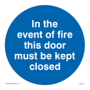 <p>In the event of fire this door must be kept closed</p> Text: