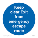 <p>Keep clear Exit from emergency escape route</p> Text: