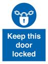 <p>Keep this door locked</p> Text: