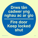 bi-lingual sign - welsh / english in blue circle Text: drws tan cadwer yng nghau ac ar glo / fire door keep locked shut