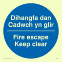 bi-lingual sign - welsh / english in blue circle Text: dihangfa dan cadwch yn glir / fire escape keep clear