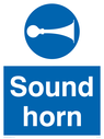 Sound horn, warehousing and delivery sign.  Text: Sound horn