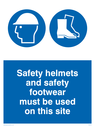 safety boots and hard hat symbols Text: safety helmets and safety footwear must be used on this site