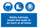 Safety boots, hard hat and high vis vest symbols Text: safety helmets, boots and vests to be worn at all times