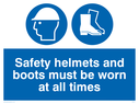 hard hat and safety boots symbols Text: safety helmets and boots must be worn at all times