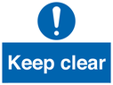 exclamation symbol Text: keep clear