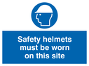 hard hat symbol Text: safety helmets must be worn on this site