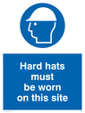 hard hat symbol Text: hard hats must be worn on this site