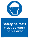 hard hat symbol Text: safety helmets must be worn in this area