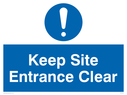 <p>Keep site entrance clear with general mandatory symbol</p> Text: Keep site entrance clear