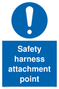 <p>general mandatory symbol in blue circle</p> Text: Safety harness attachment point