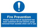 exclamation symbol Text: fire prevention please check that all equipment has been switched off and electric plugs removed from sockets when not in use