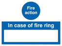 blank space for own wording Text: fire action in case of fire ring