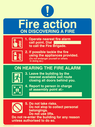 <p>exclamation symbol & prohibited symbol</p> Text: Fire action ON DISCOVERING A FIRE 1. Operate nearest fire alarm call point. Dial to call the fire brigade. 2. If possible tackle the fire using the appliances provided. (Do not endanger yourself or others in doing so). ON HEARING THE FIRE ALARM 3. Leave the building by the nearest available exit route closing all doors behind you. 4. Report to person in charge of assembly point at:- 5. Do not take risks. Do not stop to collect personal belongings. Do not use lifts.Do not re-enter the building for any reason unless authorised to do so.