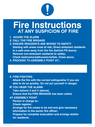 <p>Fire Action suspicion of fire</p> Text: Fire Instructions AT ANY SUSPICION OF FIRE 1.  SOUND THE ALARM 2. CALL THE FIRE BRIGADE 3. ENSURE RESIDENTS ARE MOVED TO SAFETY Starting with areas most at risk; Direct ambulant residents to a safe area away from the fire (behind FR doors). Remove non-ambulant residents to safety; Check bedrooms/bathrooms/toilets. Close doors. 4. PROCEED TO ASSEMBLY POINT AT:- 5. FIRE-FIGHTING Attack the fire with the correct extinguisher if you are able to do so quickly. Do not put yourself in danger. IF YOU HEAR THE ALARM Take actions 3 and 4 (above). Ensure that the FIRE BRIGADE has been called. AT ASSEMBLY POINT Person in charge to:- Check register; Arrange for fire crews to be met and give necessary information to the senior fire officer; Prepare for complete evacuation and arrange shelter for residents.