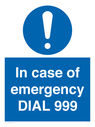 <p>In case of emergency DIAL 999</p> Text: