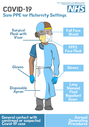 <p>COVID-19 NHS Safe PPE for Staff in Maternity settings (general contact)</p> Text: COVID-19 NHS Safe PPE for Staff in Maternity settings. General contact with confirmed or suspected Covid-19 case. Surgical Mask with Visor. Gloves. Disposable Apron. Aerosol Generating Procedure. Full Face Shield. FFP3 Mask. Gloves. Long Sleeved Fluid Repellent Gown.