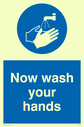 <p>Now wash your hands with symbol</p> Text: now wash your hands