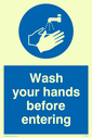 hand wash symbol Text: wash your hands before entering