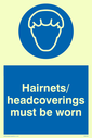 covered head in blue circle Text: hairnets/headcoverings must be worn