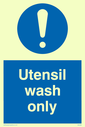 exclamation in blue circle Text: utensil wash only