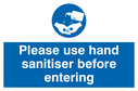 Wash hands mandatory symbol Text: Please use hand sanitiser before entering