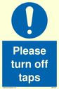 <p>Please turn off taps with general mandatory symbol</p> Text: Please turn off taps