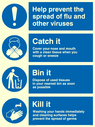 <p>Help prevent the spread of flu. Catch it Bin it Kill it poster with symbols</p> Text: Help prevent the spread of flu and other viruses. Catch it. Cover your nose and mouth with a clean tissue when you cough or sneeze. Bin it. Dispose of used tissues in your nearest bin as soon as possible. Kill it. Washing your hands immediately and cleaning surfaces helps prevent the spread of germs.