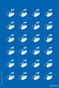 <p>Sheet of hand wash symbol mandatory stickers</p> Text: Sheet of hand wash symbol mandatory stickers