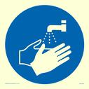 <p>Hand wash symbol</p> Text: Hand wash symbol