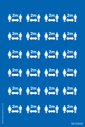 <p>Sheet of social distance symbol mandatory stickers</p> Text: Sheet of social distance symbol mandatory stickers