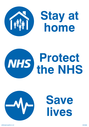 <p>Stay at home. Protect the NHS. Save lives.</p> Text: Stay at home. Protect the NHS. Save lives.
