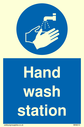 <p>Hand wash station with hand wash symbol</p> Text: Hand wash station
