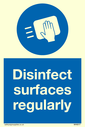 <p>Disinfect surfaces regularly with mandatory surface wipe symbol</p> Text: Disinfect surfaces regularly