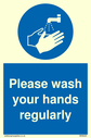 <p>Please wash your hands regularly with mandatory wash hands symbol</p> Text: Please wash your hands regularly