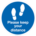 <p>Please keep your distance - Blue/white</p> Text: