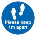 <p>Please keep 1m apart - blue</p> Text: