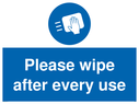 <p>Please wipe after every use</p> Text: