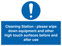 <p>Cleaning Station - please wipe down equipment and other high touch surfaces before and after use</p> Text: