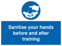 <p>Sanitise your hands before and after training</p> Text:
