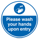 <p>Please wash your hands upon entry</p> Text: