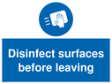<p>Disinfect surfaces before leaving</p> Text: