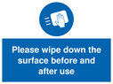 <p>Please wipe down the surface before and after use</p> Text: