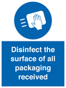 <p>Disinfect the surface of all packaging received</p> Text:
