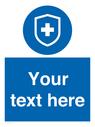 <p>Custom Mandatory virus immunity symbol blue background / white text</p> Text: