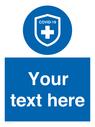 <p>Custom Mandatory Covid-19 virus immunity symbol blue background / white text</p> Text: