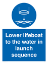 <p>Lower lifeboat to the water in launch sequence</p> Text:
