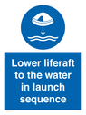 <p>Lower liferaft to the water in launch sequence</p> Text: