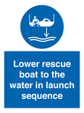 <p>Lower rescue boat to the water in launch sequence</p> Text: