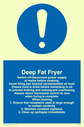 exclamation in blue circle Text: deep fat fryer rules